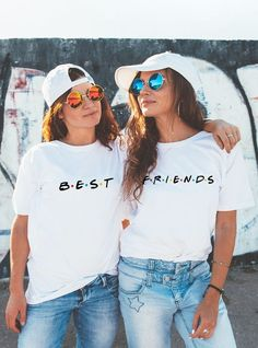 37 Greatest Matching Best Friend Shirts For ( Friendship Shirts ) Discover all the coolest best friend shirts here in our guide that features all of the most awesome matching friendship t-shirts for you and your BFF. Best Friends T Shirt, Best Friend Matching Shirts, Best Friend Outfits, Best Friend Clothes, Best Friend Stuff, Bff Clothes, Friends Shirts, Best Freinds, Bff Shirts