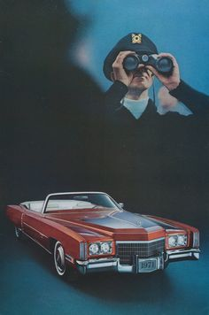 1971 Fleetwood Cadillac Eldorado Convertible Car Ad Incognito Binoculars Vintage Advertising Print, Wall Art Decor