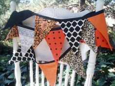 Bunting Banner Garland Orange Black and Cream by TheOldPinkPorch