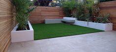 modern garden design raised beds hardwood privacy screen ceadr trellis fence artificial grass floating storage bench earlsfield wandsworth clapham dulwich balham london