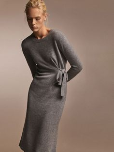 100% CASHMERE DRESS WITH SIDE BOW DETAIL - Women - Massimo Dutti