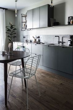This kitchen in Greige shade that inspired our Terra collection colour palette. Ikea Kitchen Cabinets, Kitchen Decor, Dining Room, Dining Table, Green Kitchen, House Styles, Inspiration, Furniture, Color