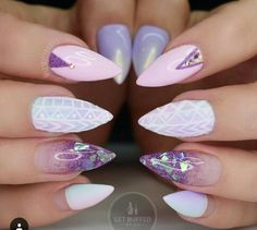 Best Summer Stiletto Nails Art Designs For You - Nail Art Connect Gem Nail Designs, White Nail Designs, Acrylic Nail Designs, Nails Design, Salon Design, Cute Nails, Pretty Nails, Gem Nails, Purple Nails