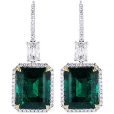 Striking 18.83ctw Colombian Emerald Earrings at 1stdibs ❤ liked on Polyvore featuring jewelry, earrings, accessories, emerald jewellery, earring jewelry, emerald jewelry and emerald earrings
