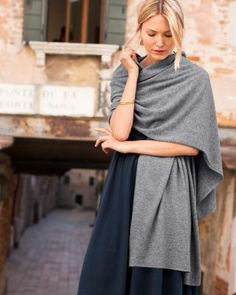 Pure Cashmere Wrap - Garnet Hill  black, grey or eggplant.