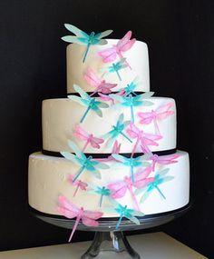 Edible dragonflies cake topper