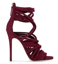 Featured Shoes: Giuseppe Zanotti; Twisted maroon stiletto heels.