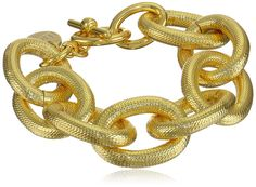 """1AR by UnoAerre 18k Gold-Plated Textured-Link Bracelet, 9.5"""". Textured-link bracelet plated in 18k gold featuring toggle closure. Made in Italy."""