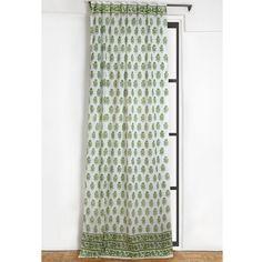 Riya Curtain Green Printed Curtains Curtains Paisley Curtains
