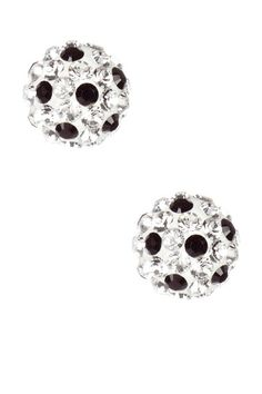 Sterling Silver Pave Black & White Crystal Ball Stud Earrings by Candela on @HauteLook