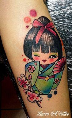 Kokeshi Tattoo, Ink Tattoo Studio, Doll Tattoo, Skull Wallpaper, Kokeshi Dolls, Skin Art, Tattoo You, Tattoo Designs, Tattoo Ideas