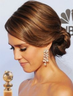 Simple but beautiful low bun. Hate up dos but this is really pretty
