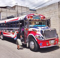 Commuting home from my preschool via Chicken Bus, which is an old American school bus re-purposed for Guatemalan transit systems Malta Bus, Cool Rvs, Buses, Recreational Vehicles, Volkswagen, Preschool, Dreams, Chicken, American
