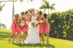 Coral bridesmaid dresses. Elegant Gold and Blush Wedding