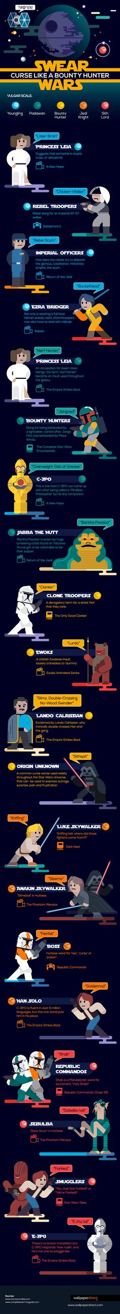 Swear Wars: How to curse like a bounty hunter #infographic #StarWars #Entertainment