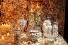 candles on candy buffet wedding - Google Search