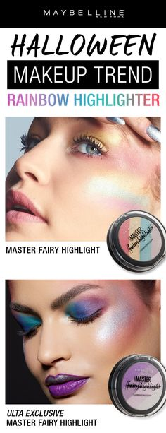Halloween is the perfect time to try a new makeup trend and why not try a rainbow highlighter like the Maybelline Master Fairy Highlighter? Just use the sponge provided in the packaging and swipe the rainbow highlight straight onto cheeks for a rainbow glow.  Want something more subtle? Try our Master Fairy Highlighter in the Ulta exclusive shade for a subtle purple glow.
