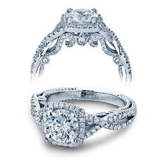 Verragio Insignia Cushion Halo Twist Engagement Ring Setting ($4,200) ❤ liked on Polyvore featuring jewelry, rings, band rings, twisted engagement ring, pave ring, band engagement rings y diamond accent rings