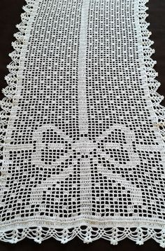 White crochet cotton table runner with white ribbon Crochet Table Runner Pattern, Crochet Tablecloth, Crochet Doilies, Chrochet, Knit Crochet, Crochet Hats, Crochet Curtains, Tapestry Crochet, Crochet Numbers