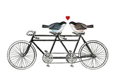 LOVE PRINT - tandem bicycle and birds - archival art print digital - valentine art - red love heart - A4. $20.00, via Etsy.