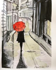 "My study of Stefano Corso's picture ""Red Rain (Strolling down cobblestone street)"" - watercolors"