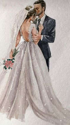 Wedding Dress Illustrations, Wedding Dress Sketches, Wedding Illustration, Wedding Dresses, Bride And Groom Cartoon, White And Gold Wedding Cake, Wedding Drawing, Beautiful Girl Drawing, Photos Booth