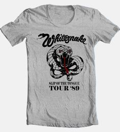 Retro Styles Whitesnake Tour T-shirt Heavy Metal Classic Rock gray cotton retro style - T-Shirts, Tank Tops - 80s Heavy Metal, Heavy Metal Bands, Band Merch, Band Shirts, Funky Fashion, Grey Fashion, Tour T Shirts, Classic Rock, Shirt Shop
