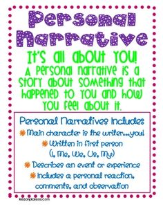 Use this poster to teach your students how to write a personal narrative....