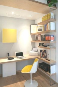 Creative Home Office Design Ideas to Increase Your Productivity - Home Decor Design Home Office Design, Home Office Decor, Office Designs, Office Ideas, Men Office, Workplace Design, Small Space Design, Small Spaces, Warm Home Decor