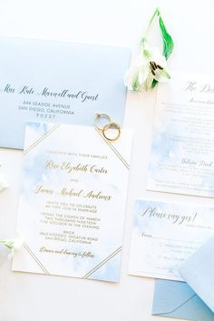 Blue Watercolor and Gold Foil makes for a unique wedding invitation for a modern destination wedding