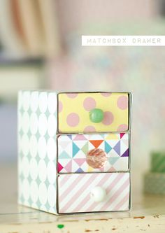 DIY: Matchbox Drawer, pour même les plus petits trésors Matchbox Crafts, Matchbox Art, Diy For Kids, Crafts For Kids, Diy Paper, Paper Crafts, Box Creative, Do It Yourself Organization, Diy And Crafts