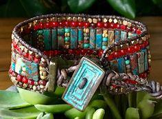 PATRIOT Gemstone Leather Cuff Bracelet by BraceletsofBlueRidge