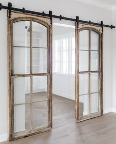 Alright friends, let's discuss: Sliding barn doors... Still your jam... or, a thing of the past? Window Design, Home Projects, Sliding Glass Door, Glass Doors, French Decor, Master Suite, Windows And Doors, Warehouse, Oversized Mirror