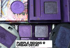 Urban Decay's purples. Just bought Freakshow (bottom left) and I can't wait to use it!