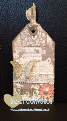 Tag and Tag Tab made using the envelope Punch board, decorated using Gorgeous Grunge, French Script and Creative Elements stamp set by Independent Stampin Up Demonstrator Traci Cornelius