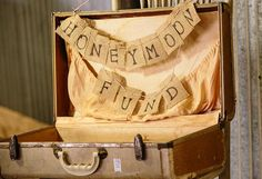 vintage suitcase for honeymoon fund (wedding or shower?)