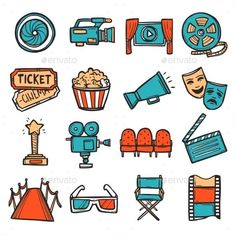 Buy Cinema Icons Set Color by macrovector on GraphicRiver. Cinema decorative icons colored set with video screen film camera movie ticket isolated vector illustration. Journal Stickers, Scrapbook Stickers, Planner Stickers, Tumblr Stickers, Cute Stickers, Cinema Wallpaper, Doodles, Movie Tickets, Bullet Journal Ideas Pages