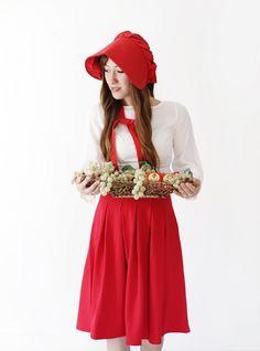 68afd2159f5f61 Rotkäppchen Kostüm für Fasching, weißes Hemd, roter Rock und rotes  Käppchen, Korb voll