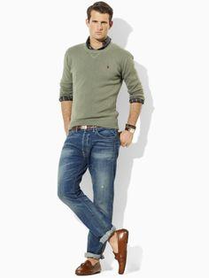Cotton crewneck sweater, Polo Ralph Lauren.