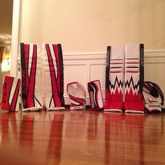 Here's a submission from Stephen Dhillon of the Niagara Ice Dogs, as he wanted us to share his custom CCM EFlex 2 / Vaughn setups! Goalie Gear, Submission, Hockey, Sick, Pillows, Cool Stuff, Dogs, Vorlage, Throw Pillow