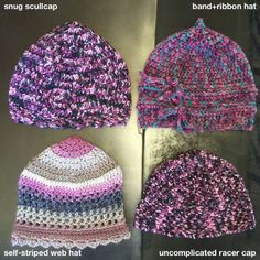 Four unique crochet beanies, scull caps, hats. Cool chromatic colors+textures, snug styles. Only one each made. Price per one item. by ProtoBeanie on Etsy (null)