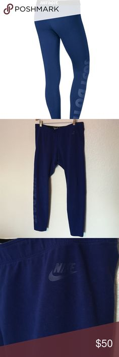 Nike Just do it leggings These leggings are a blue color with blue lettering. These are in gently used condition. Size XL Nike Pants Leggings