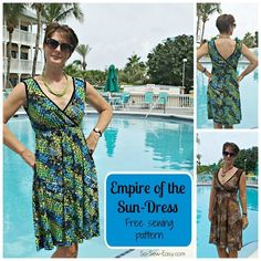 Free sewing pattern for a pretty summer sundress pattern. This comfortable sundress has an empire waist and crossover front and back bodice. It's reversible