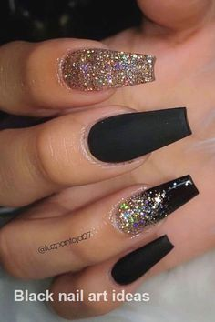 The Most Beautiful Black Winter Nails Ideas Here are some cute winter nail designs between black and silver glitter nails, black and gold glitter nails, and black marble nails designs. Black Marble Nails, Black Gold Nails, Silver Glitter Nails, Black Coffin Nails, Gold Gold, Nail Black, Cute Black Nails, Coffin Nails Glitter, Nail Art With Glitter