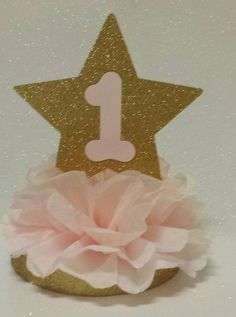 Twinkle Twinkle little star pink gold table 1st birthday party table decor centerpiece