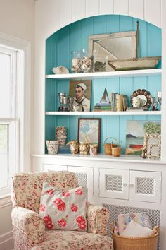 Turquoise Bookshelves #beachstyle