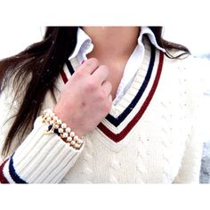Sweater: Brooks Brothers Shirt: Ralph Lauren Bracelet: Kjp   Preppy blog