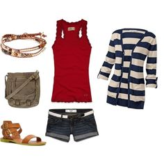 Red white and blue casual outfit for a breazy summer ...