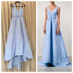NWT Oscar de la Renta Blue Ballgown - Host Pick STUNNING, NWT Spring 2015 Oscar de la Renta Blue Ballgown with Belt! Retails for $7000!  100% silk, size 6, plunging V neck, full A-line skirt falls to the floor with train, hidden pockets, made in the USA of Italian materials, dry clean. No trades, no PayPal, price firm. Oscar de la Renta Dresses