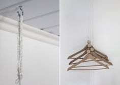 {in-room guest closet #howto} perfect for a guest space without a closet, a kid's room to set out clothes for next day, etc. supplies: wooden hangers, twine, scissors, large 40mm wooden beads, ceiling hook. #diy #myo
